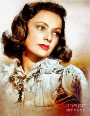 Gene Tierney, Vintage Hollywood Actress Art Print by Frank Falcon