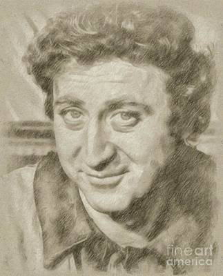 Presley Drawing - Gene Wilder Hollywood Actor by Frank Falcon