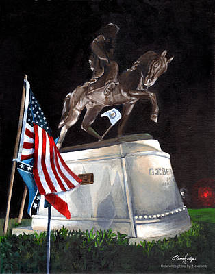 Confederate Monument Painting - General Beauregard Monument by Elaine Hodges