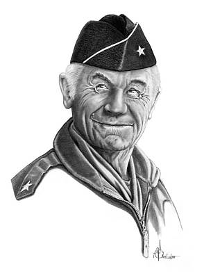 Famous People Drawing - General Chuck Yeager by Murphy Elliott