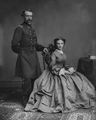 Cavalry Painting - General Custer And His Wife Libbie by War Is Hell Store