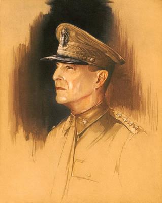 Macarthur Wall Art - Mixed Media - General Douglas Macarthur Sketch by War Is Hell Store