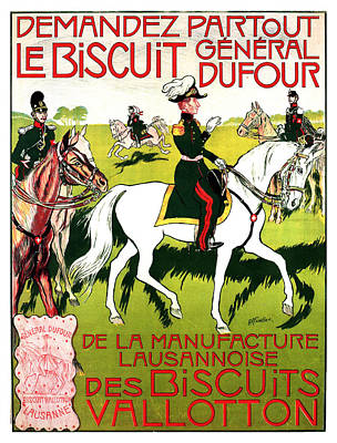 Mixed Media - General Dufour - Biscuits Valloton - Lausanne, Switzerland - Vintage Advertising Poster by Studio Grafiikka