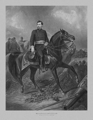 War Horse Mixed Media - General George Mcclellan On Horseback by War Is Hell Store