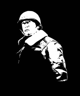 War Hero Digital Art - General George Patton - Black And White by War Is Hell Store