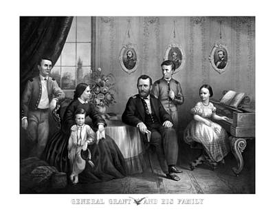 American Presidents Mixed Media - General Grant And His Family by War Is Hell Store