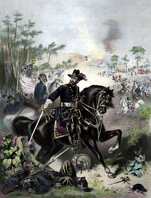 Landmarks Painting Royalty Free Images - General Grant During Battle Royalty-Free Image by War Is Hell Store