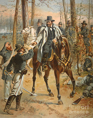 Military Uniform Painting - General Grant In The Wilderness Campaign 5th May 1864 by Henry Alexander Ogden