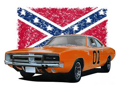 Transportation Digital Art Rights Managed Images - General Lee Rebel Royalty-Free Image by Paul Kuras
