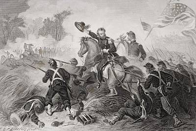 General Lyons Charge At The Battle Of Art Print by Vintage Design Pics