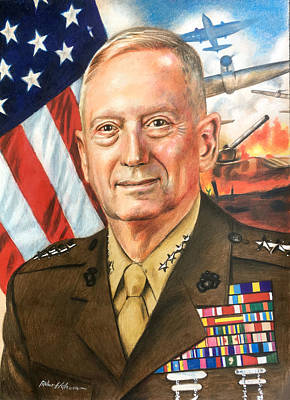 Drawing - General Mattis Portrait by Robert Korhonen