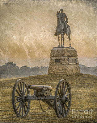 Army Of The Potomac Digital Art - General Meade Statue And Cannon Gettysburg by Randy Steele