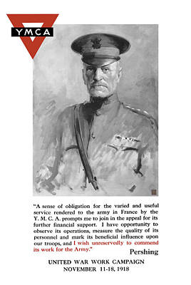 First World War Painting - General Pershing - United War Works Campaign by War Is Hell Store