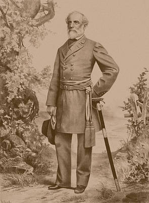 Confederate Drawing - General Robert E. Lee Standing by War Is Hell Store