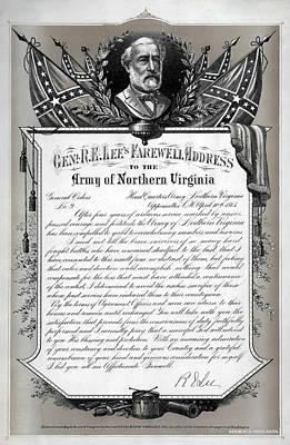 Civil War Generals Mixed Media - General Robert E. Lee's Farewell Address To Confederate Soldiers by Daniel Hagerman
