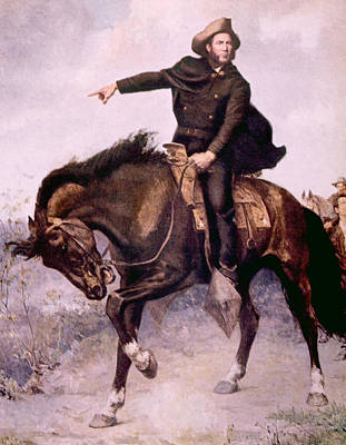 General Sam Houston At The Battle Print by Everett
