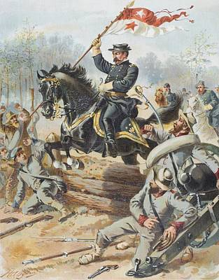 General Sheridan At The Battle Of Five Print by Vintage Design Pics