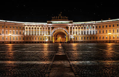 Photograph - General Staff Building At Night by Jaroslaw Blaminsky