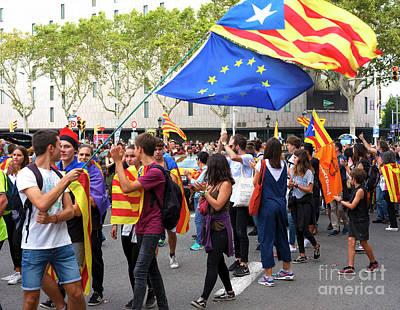 Photograph - Barcelona General Strike 3 October 2017 by John Rizzuto