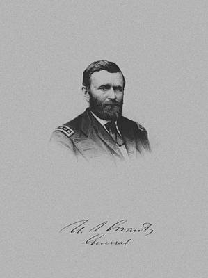 Landmarks Mixed Media Royalty Free Images - General Ulysses Grant And His Signature Royalty-Free Image by War Is Hell Store
