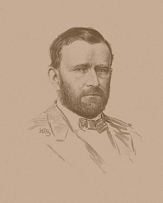 Landmarks Mixed Media Royalty Free Images - General Ulysses S Grant Royalty-Free Image by War Is Hell Store