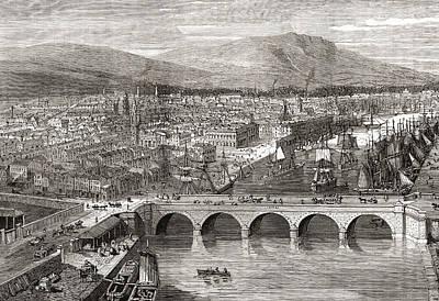 Belfast Bridge Drawing - General View Of Belfast, Northern by Vintage Design Pics