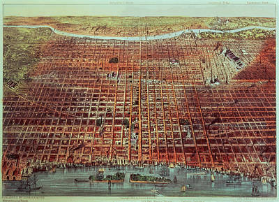 M.j Painting - General View Of Philadelphia by Currier and Ives