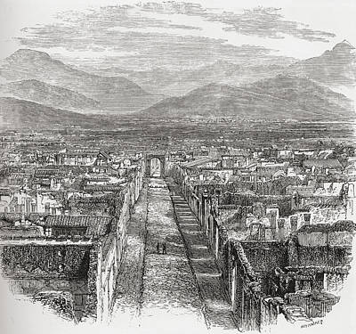 General View Of Pompeii, Naples, Italy Print by Vintage Design Pics