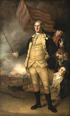 Continental Army Painting - General Washington At The Battle Of Princeton by War Is Hell Store