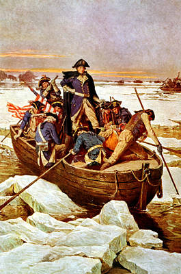 Us Flag Painting - General Washington Crossing The Delaware River by War Is Hell Store