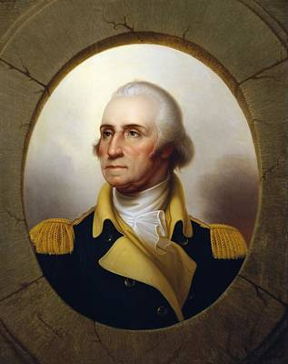 Best Sellers - Landmarks Painting Royalty Free Images - General Washington - Porthole Portrait  Royalty-Free Image by War Is Hell Store