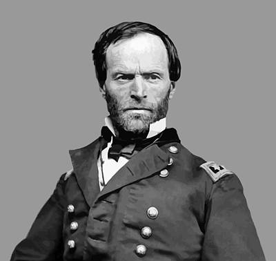 Landmarks Painting Royalty Free Images - General William Tecumseh Sherman Royalty-Free Image by War Is Hell Store