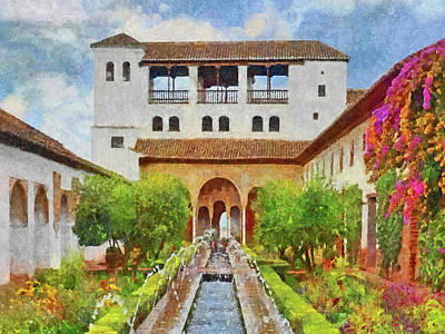 Digital Art - Generalife Gardens by Digital Photographic Arts