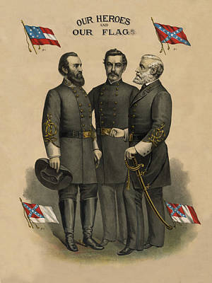 Generals Jackson Beauregard And Lee Art Print by War Is Hell Store