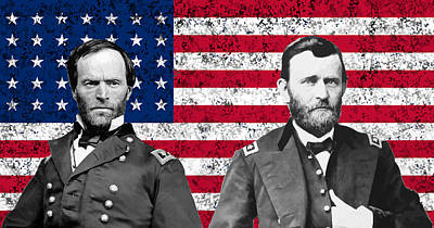 Williams Digital Art - Generals Sherman And Grant  by War Is Hell Store