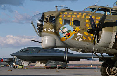Generations B-17 And B-2 Art Print by John Clark