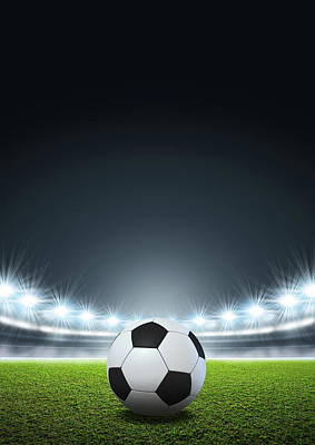 Stadium Digital Art - Generic Floodlit Stadium Soccer Ball by Allan Swart