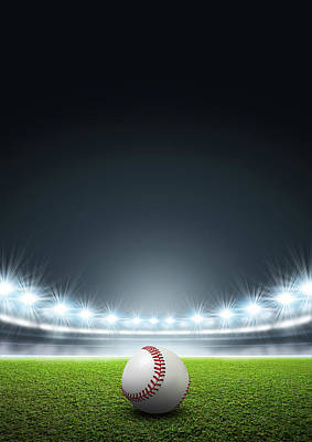 Turf Digital Art - Generic Floodlit Stadium With Baseball by Allan Swart