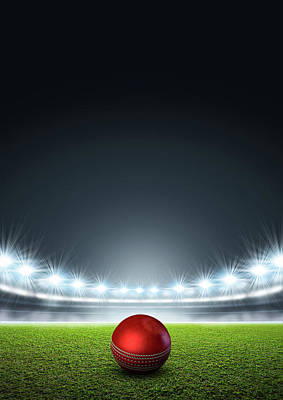Cricket Digital Art - Generic Floodlit Stadium With Cricket Ball by Allan Swart