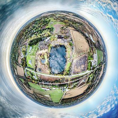 Photograph - Genesee Pond Little Planet by Randy Scherkenbach