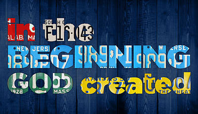 Genesis 1 1 In The Beginning God Created Bible Verse Recycled Vintage License Plate Art Art Print