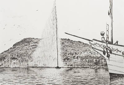 Geneva Drawing - Geneva  Fountain And Bow Of Pleasure Boat by Vincent Alexander Booth