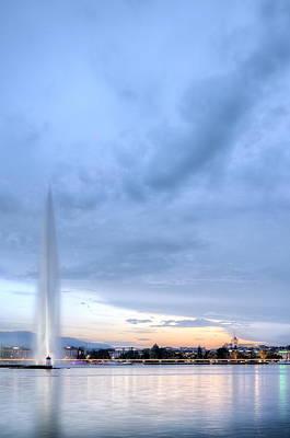 Photograph - Geneva Fountain, Switzerland, Hdr by Elenarts - Elena Duvernay photo