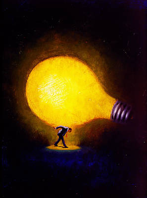 Light Bulb Wall Art - Painting - Genius by Andrew Judd