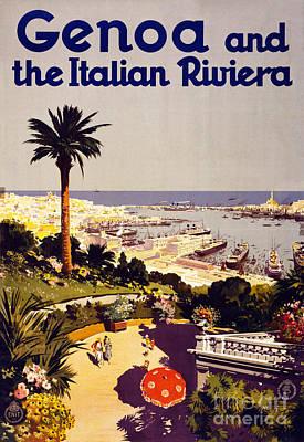 Genoa And The Italian Rivera Vintage Poster Restored Art Print by Carsten Reisinger