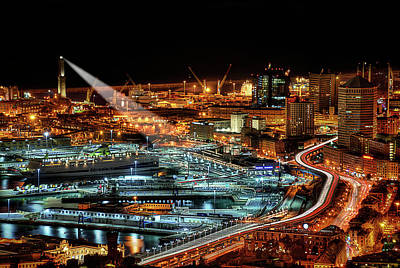 Photograph - Genoa And The Lighthouse By Night - Genova E La Sua Lanterna  by Enrico Pelos