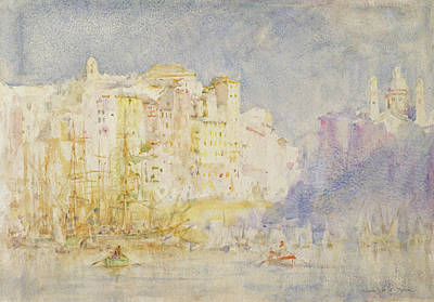 Harbor Drawing - Genoa by Henry Scott Tuke
