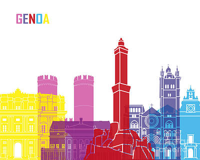 Genoa Skyline Pop Art Print