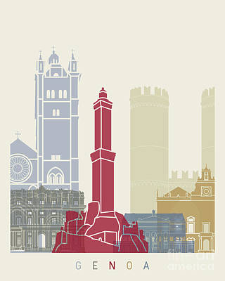 Genoa Painting - Genoa Skyline Poster by Pablo Romero