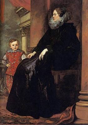 Digital Art - Genoese Noblewoman With Her Son  by Sir Antony van Dyck